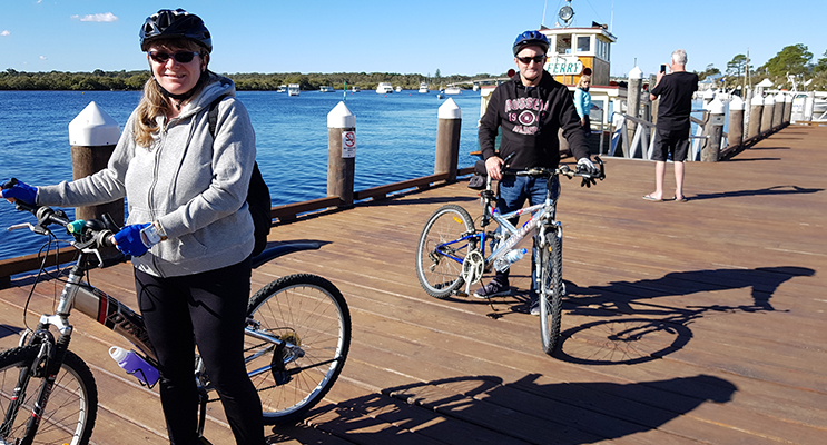 VISITING CYCLISTS TO TEA GARDENS: Michelle and Andrew bring their bikes from Nelson Bay.
