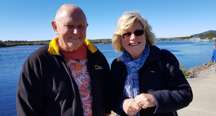 FERRY MEETING: Gordon Grainger and Patricia Garrard.
