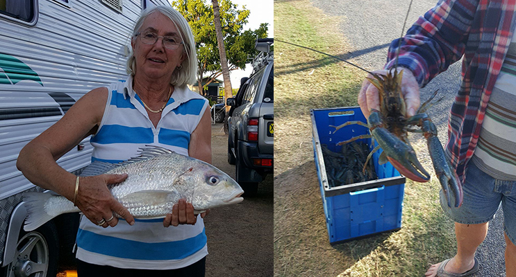 Helen with a 'grunter'. (left) Dennis with a big one that didn't get away.(right)