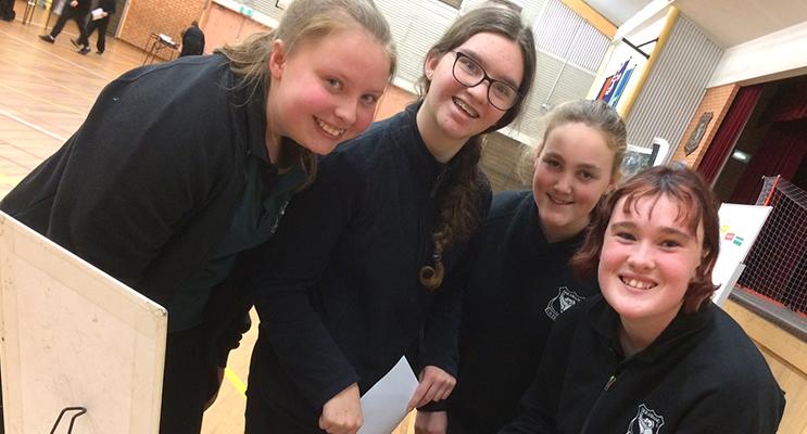 Claire Harris, Madison Ellicott, Ashley Taylor and Chloe Burns enjoying the forensics workshop.