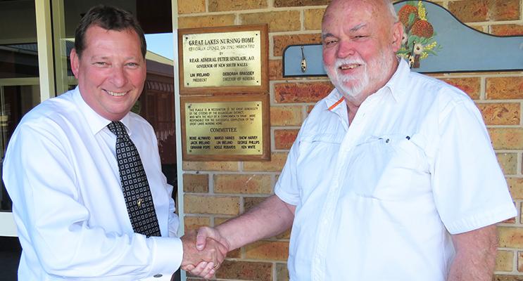 Anglican Care CEO Colin Osborne with GLAC Chairman John Ireland.
