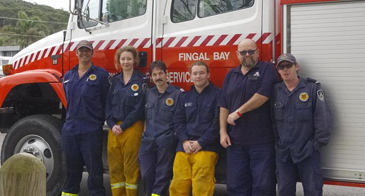 Fingal Bay Rural Fire Service volunteers, Steve Anderson, Katlyn Taylor, Dean Nunn, Curtis Nunn, Tony Lane and Brad Nunn.