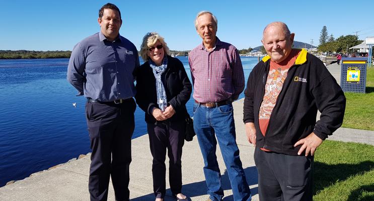 FORESHORE UPGRADE: MidCoast Council's Dan Aldridge, Patricia Garrard, Trevor Cook and Gordon Grainger.