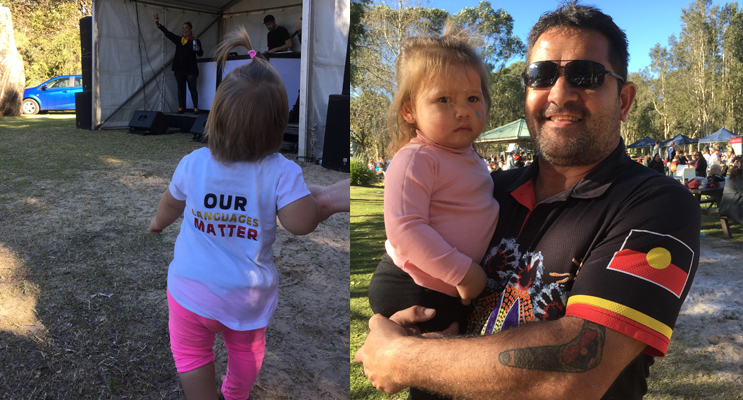 Mayara Stamp-Cook, one, with a very important message.(left) Justin Ridgeway and a little koori miss.(right)