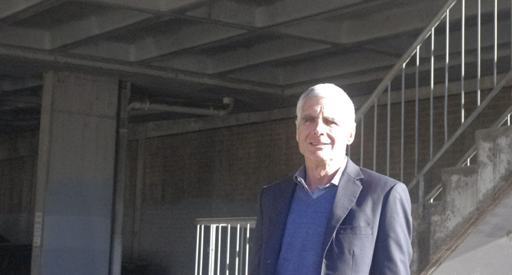 John Nell at the Donald St East Carpark which needs redevelopment. John is to run for council again after serving for 30 years.