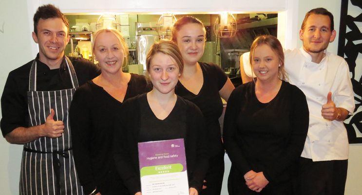 Greens Bistro: Owner Donna Shannon and staff Michael Wright, Shannelle Russell, Georgia Roberts, Angelica Sackley and David Shore are proud of their five-star rating.
