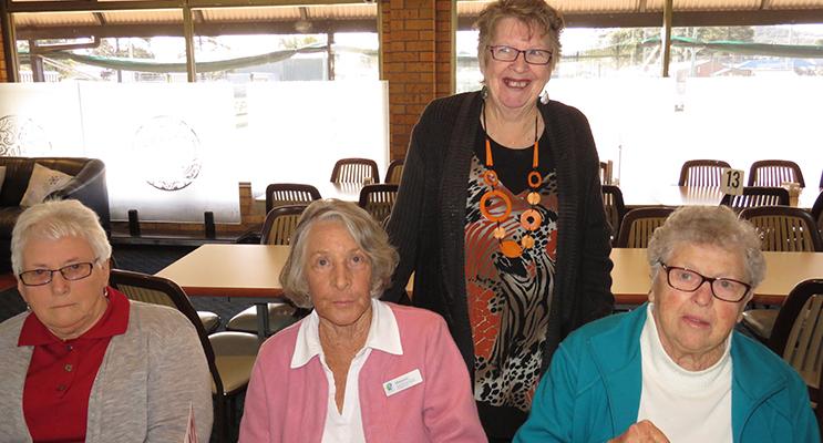 Bulahdelah Social Group: Coordinator Diane Burns with Jean Grater, Maureen Stamp and Leah Salisbury.