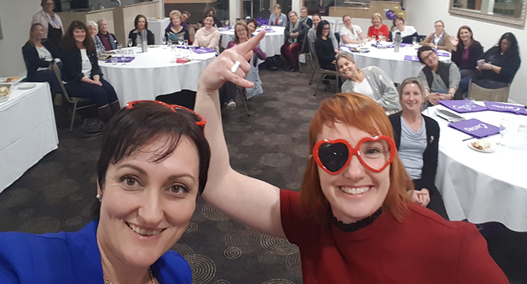Lucy Ellis and Roxy Gee of Rocking Your Imperfect at the June Port Stephens Women in Business event.