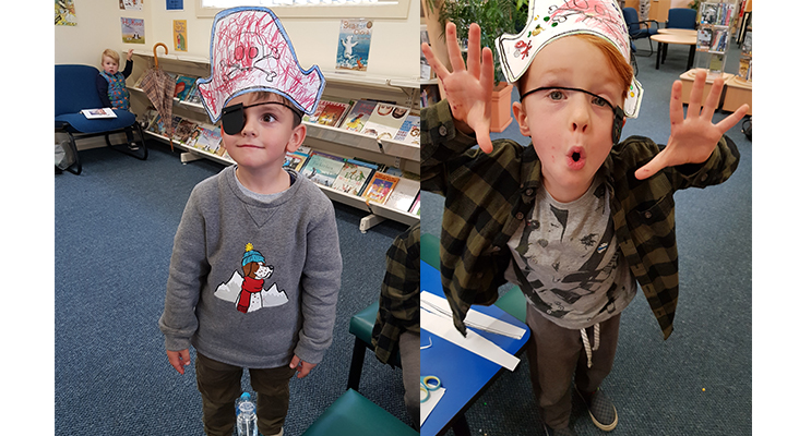 LIBRARY PIRATES: 6-year-old Oliver.(left)  LIBRARY FUN: Pirate Titus.(right)