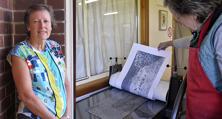 PRINT PERFECTION: Helen Sillar.(left) OPEN DAY: Learning how to print.(right)