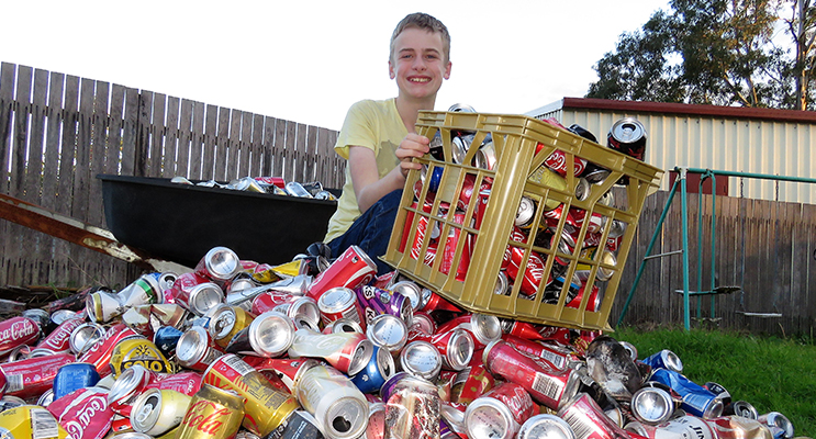 Jack Cunich will receive 10 cents for every aluminum can he collects from 1 December.