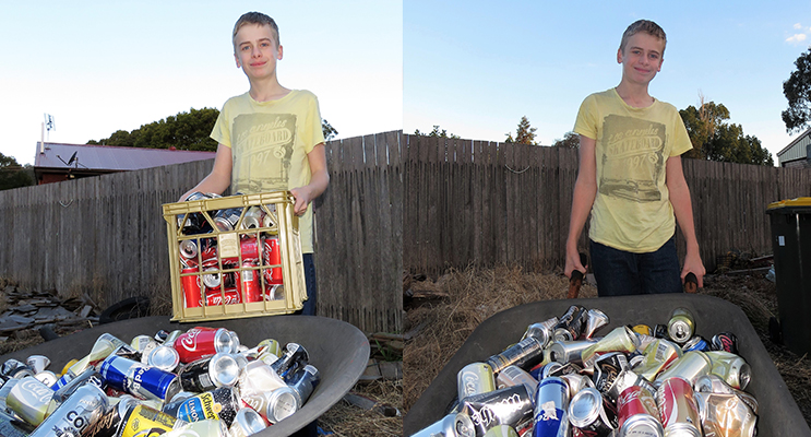 Jack Cunich set up a mini recycling system to help protect the environment.  (left) Jack Cunich collects cans from his neighbours to be recycled. (right)
