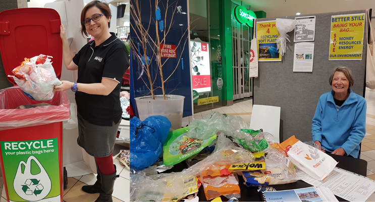 News Of The Area reporter Sarah Stokes Redcycling soft plastics.(left) Diana Latona of OCCI and her plastics recycling campaign.(right)