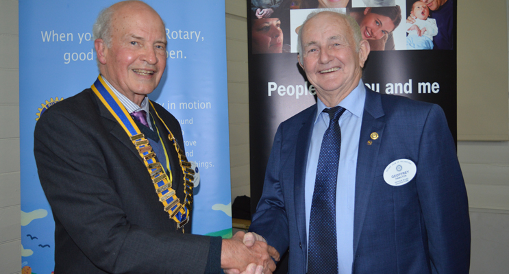 Commissioning of a new President: Richard Byrne is welcomed into the role by outgoing President, Geoffrey Hamilton.