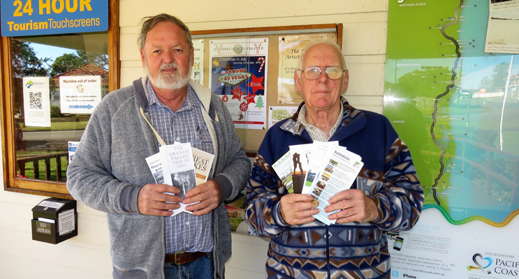 Volunteers Kevin Carter and Geoff Turner provide tourist information to hundreds of travellers each week.