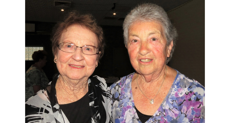Old friends Joan Cheers and Irene Worth catch up at the 2016 get together.