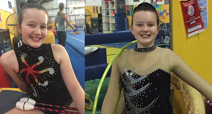 Emily Whittington in her competition gear, ready to compete.(left) Emily, ready to compete in hoop.(right)