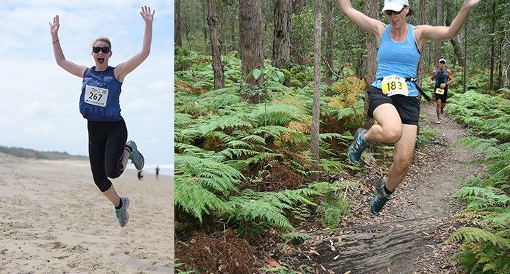 An In2Adventure runner on dunes.(left) An In2Adventure runner on the track.  Photos by In2Adventure.(right)