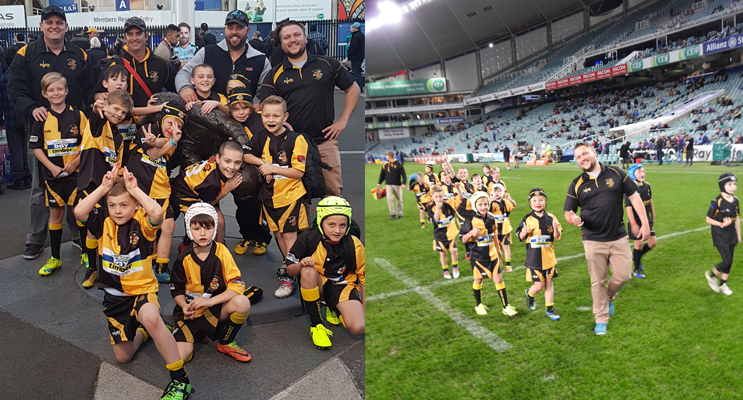 The U8s team, excited to play in Allianz Stadium. (left) Medowie's own mini Marauders walking off the field. (right)