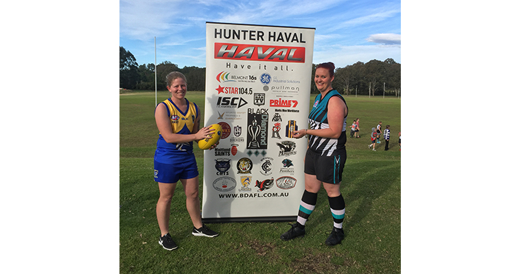 Lauren Cooper, coach and player at Nelson Bay Marlins and Mel Nelson, president and player of Port Stephens Power.