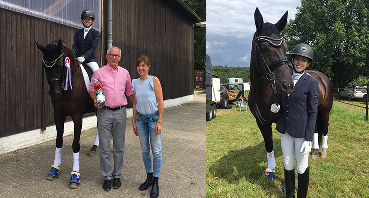 Serena Ireland with the owner of the horse she is riding, Dauphin's Dream, with the major sponsor for the event where Serena won most successful rider of two combined levels. (left) Serena Ireland preparing for a competition.(right)