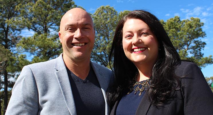 Jaimie Abbott with partner Matthew Bailey.