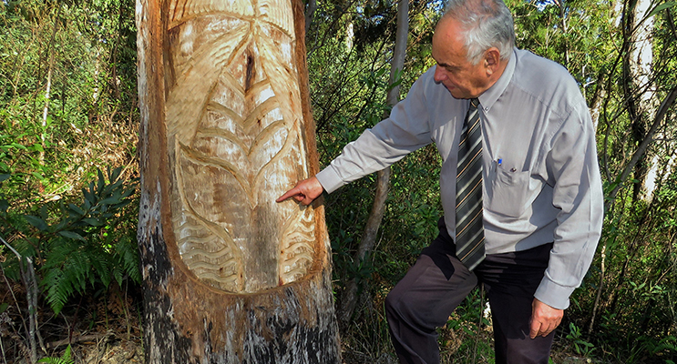 Land Council CEO Len Roberts points out the carved whale at the heads.