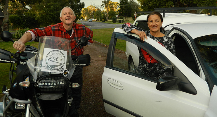 Steve Dickson and Karena Wood from Tanilba Bay who are both taking part in the 'Boaty to Bello' road trip.
