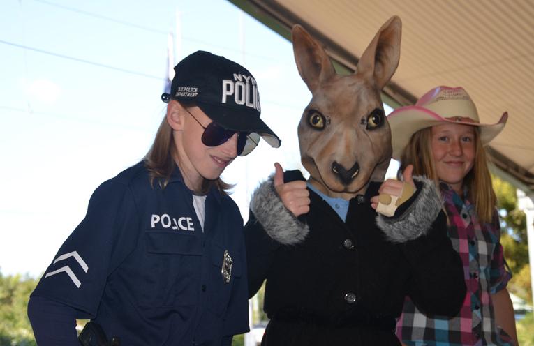 Kallen Craft (Police), Sonny Braddick (Roo) and Sophie Frazer (Cow Girl).
