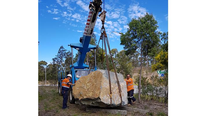 GATEWAY SIGN: 14 tonne boulder lands on Myall Way.
