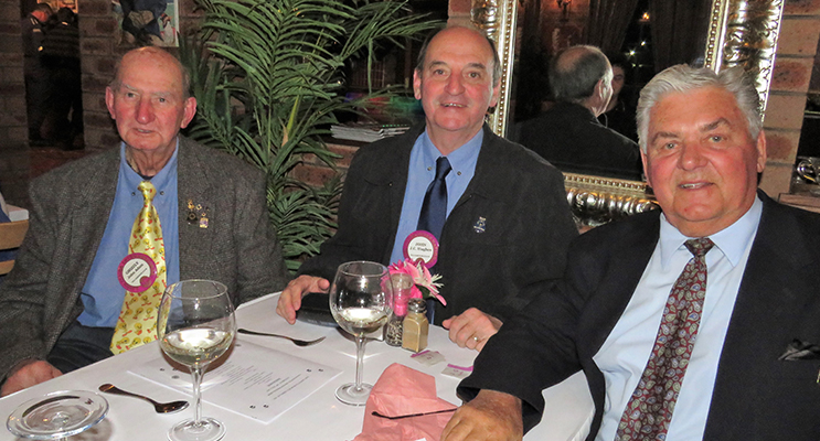 Tea Gardens Lions John Adams, John Hughes and John Hill at the changeover dinner.