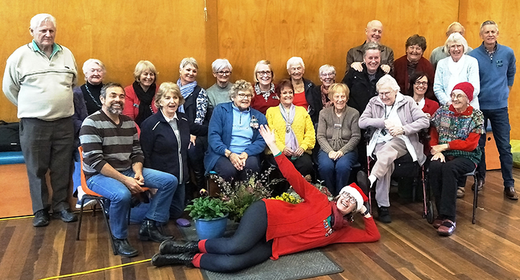 Medowie Garden Club members having a ball at their Christmas in July celebrations.