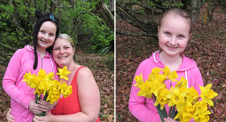 Daffodil Day: Sophie Hill-Mather and her mum Kylie. (left) Daffodil Day: Sophie Hill-Mather shares hope for a cancer free future. (right)