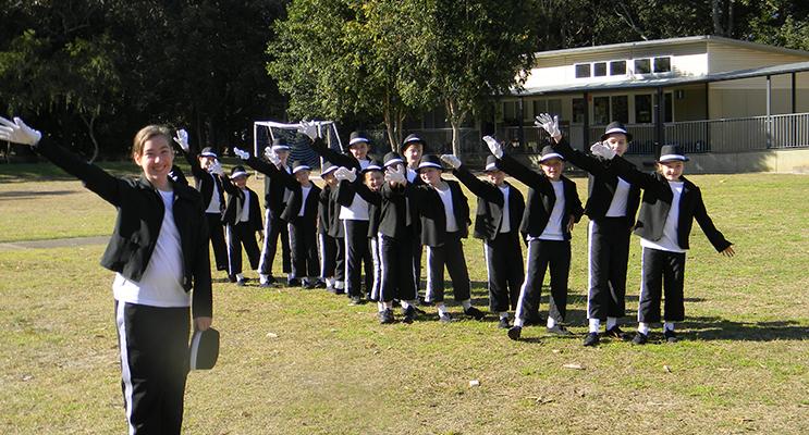 Salt Ash students prepare to perform.