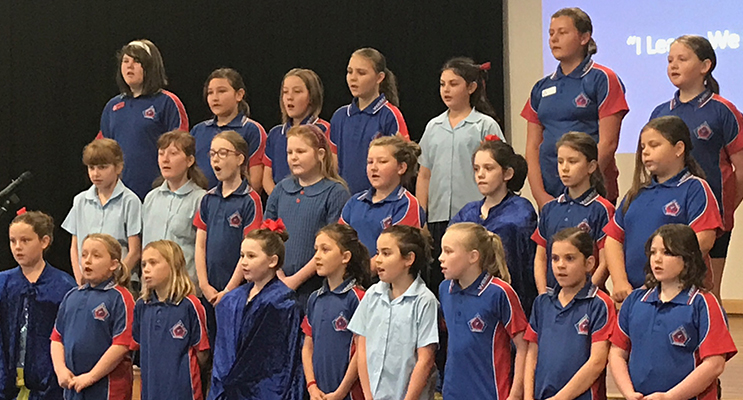 Wirreanda Primary School students perform at their school assembly.
