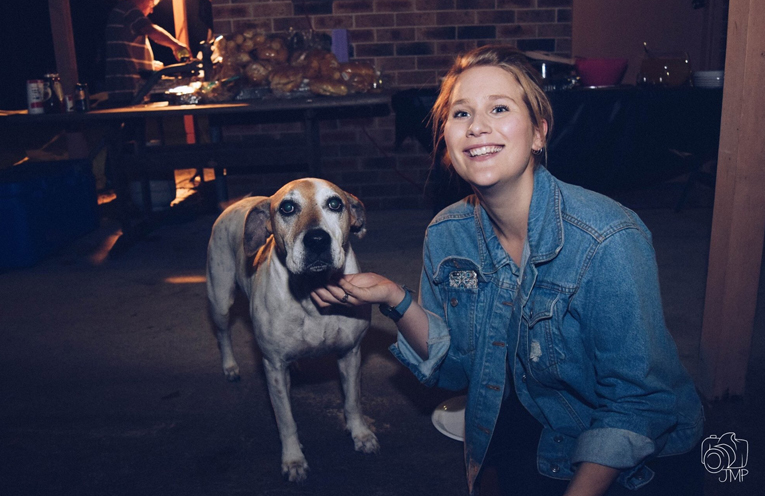 Simone Johnson with Missi the dog.