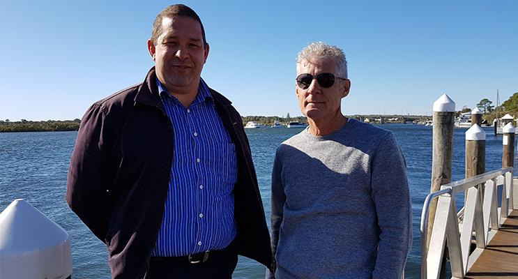 TEA GARDENS WHARF: MidCoast Council's Dan Aldridge and Ferry Spokesman Malcolm Anderson.