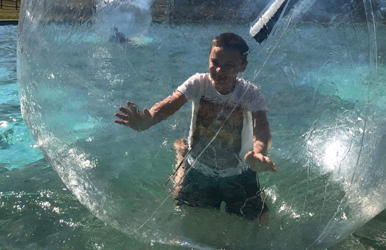 KARUAH PRIMARY ADVENTURE: Lachlan in the Zorb Ball.