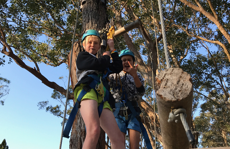 KARUAH SCHOOL ADVENTURE: Joshua and Shadquiel on the flying fox.