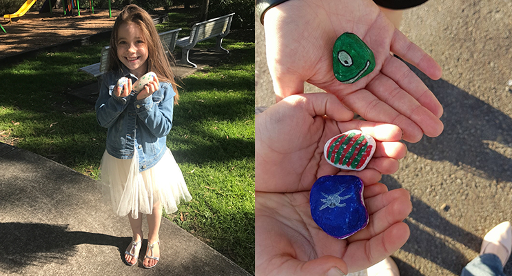 Ava Lochhead is loving this new nature activity.(left) Paint some stones, get the kids involved, and have some fun!(right)