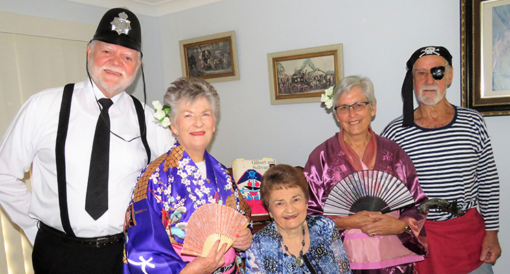 Melodians: Allan Anton, Mary Knight, Musical Director Margaret Rowden, Margaret Wheatley and Tim Barker rehearse in costume for the show.