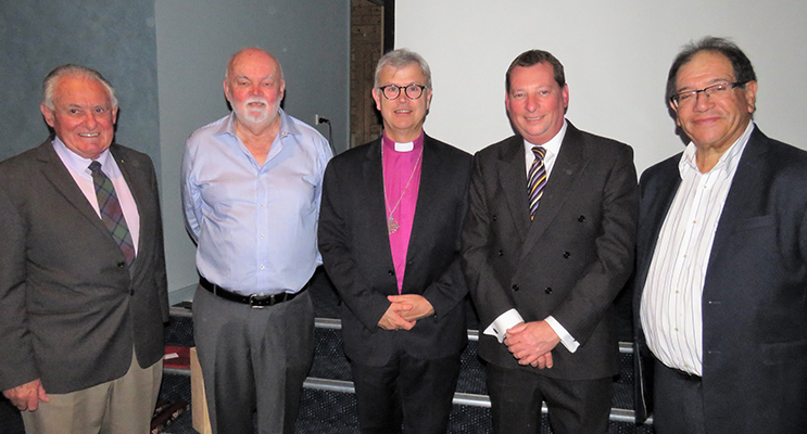 Anglican Care Chairman John Kilpatrick, GLAC Chairman John Ireland, Bishop Peter Stuart, Anglican Care CEO Colin Osborne and GLAC Executive Officer Denis Byron.