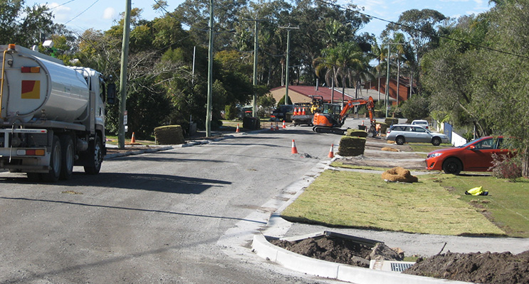 Advanced roadworks in Francis Ave, Lemon Tree.
