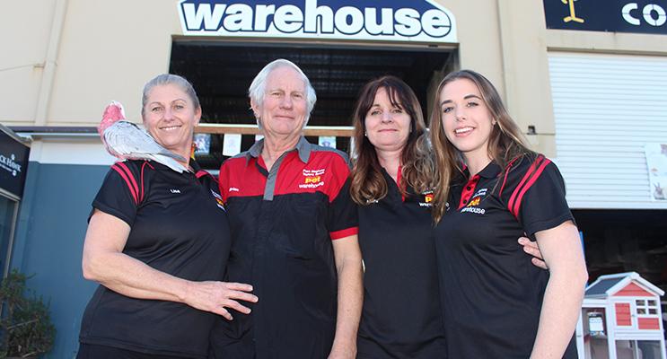 Pet Warehouse staff Lisa Steane, Brian Blake, Maura Bandi and Kate John.