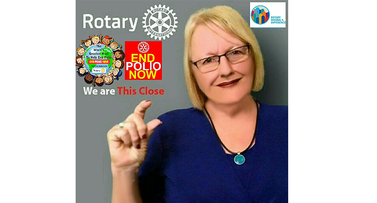 Susanne Rea of Cairns Sunrise Rotary has raised over USD $8.5 million to help eradicate polio. She will be guest presenter at an event at Salamander Bay on 30 August.