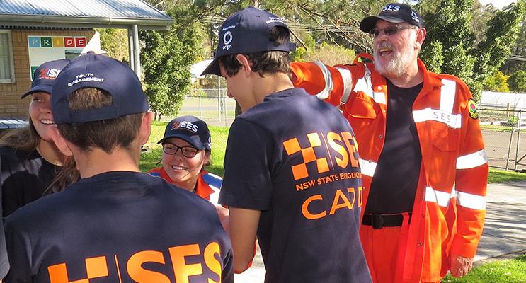 Regional Coordinator Garry Fajks leads the cadets in a teamwork challenge.