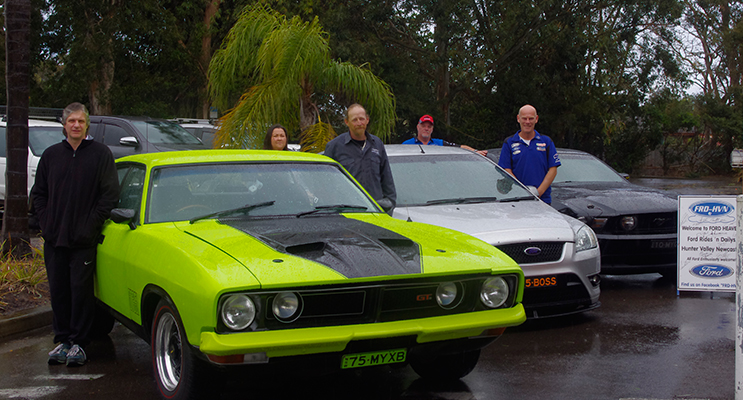 Ford Heaven members with their pride and joys. Lee Duncan, Leigh Taylor, Richie Cunningham, Gordon Webster from Anna Bay Tavern, and Tom Gunnulson.