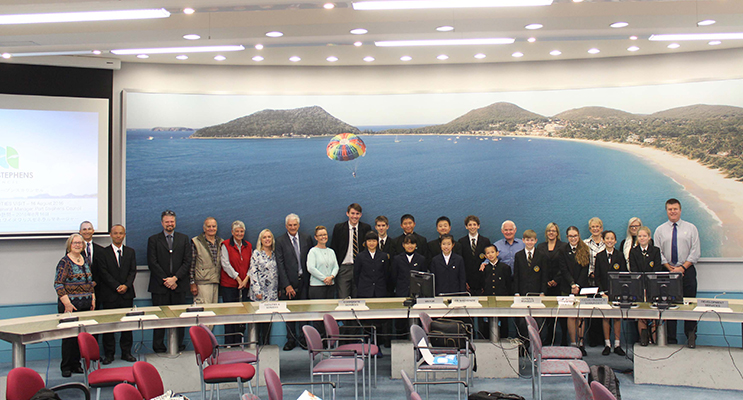 The Yugawara delegation on their sister city visit to Australia at the Port Stephens Council Chambers.