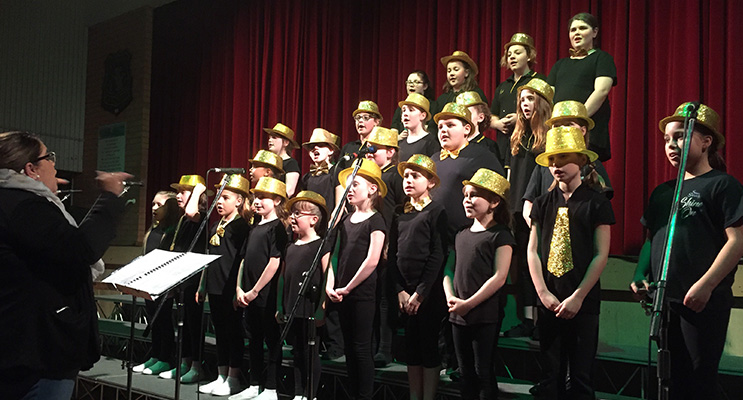 Medowie Public School choir impressed the audience with their glittery performance.