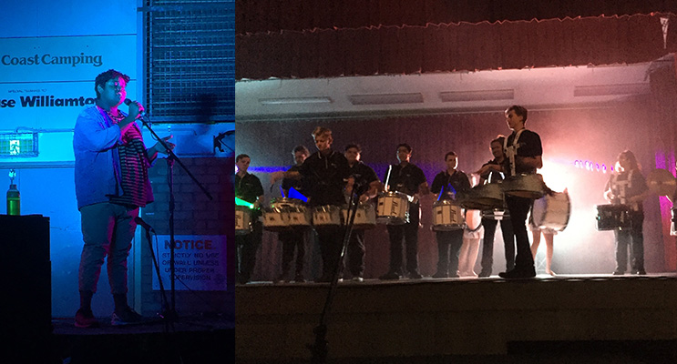 The audience was in awe of Edwin's performance. (left) The impressive drum corp battle on stage. (right)